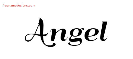 Angel Art Deco Name Tattoo Designs