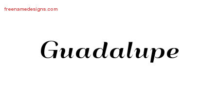 Guadalupe Art Deco Name Tattoo Designs