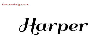 Harper Art Deco Name Tattoo Designs