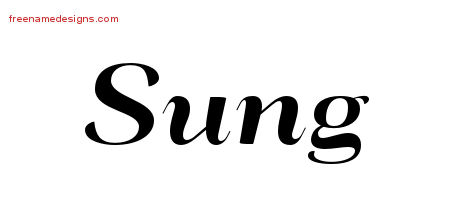 Sung Art Deco Name Tattoo Designs
