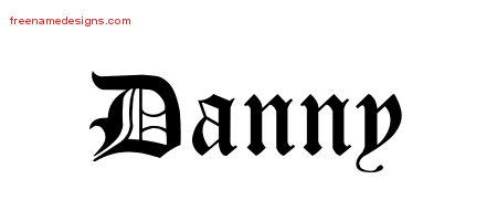 Danny Blackletter Name Tattoo Designs