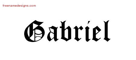 Gabriel Blackletter Name Tattoo Designs