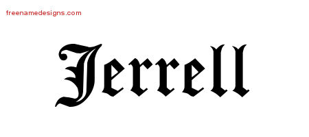 Jerrell Blackletter Name Tattoo Designs