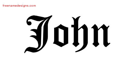 John Blackletter Name Tattoo Designs