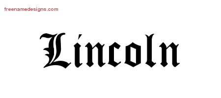 Lincoln Blackletter Name Tattoo Designs