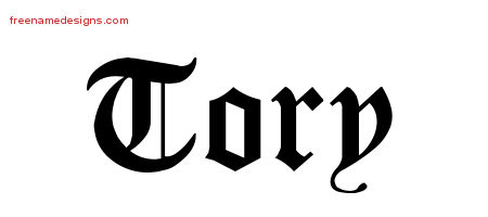 Tory Blackletter Name Tattoo Designs