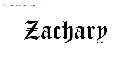 Zachary Blackletter Name Tattoo Designs