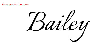 Bailey Calligraphic Name Tattoo Designs