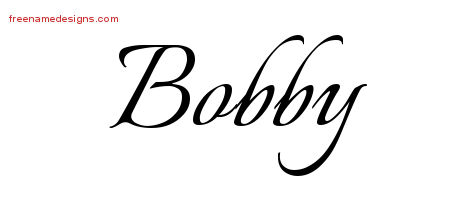 Bobby Calligraphic Name Tattoo Designs
