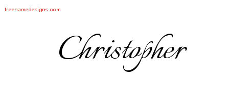 Christopher Calligraphic Name Tattoo Designs