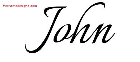 John Calligraphic Name Tattoo Designs