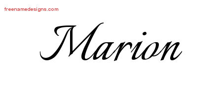 Marion Calligraphic Name Tattoo Designs
