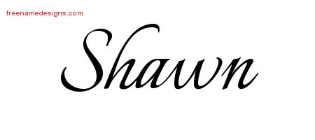 Shawn Calligraphic Name Tattoo Designs