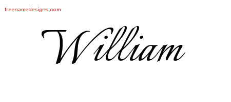 William Calligraphic Name Tattoo Designs