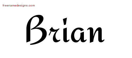 Brian Calligraphic Stylish Name Tattoo Designs