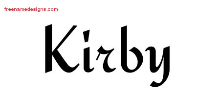 Kirby Calligraphic Stylish Name Tattoo Designs