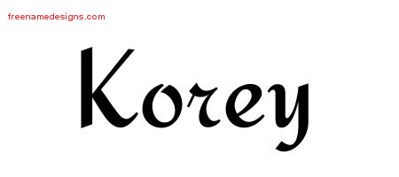 Korey Calligraphic Stylish Name Tattoo Designs
