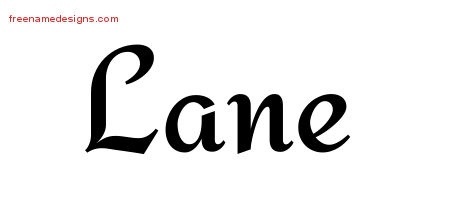 Lane Calligraphic Stylish Name Tattoo Designs