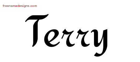 Terry Calligraphic Stylish Name Tattoo Designs
