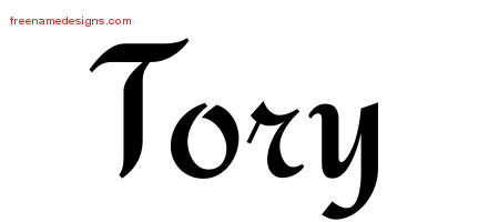 Tory Calligraphic Stylish Name Tattoo Designs