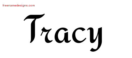 Tracy Calligraphic Stylish Name Tattoo Designs