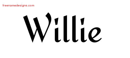 Willie Calligraphic Stylish Name Tattoo Designs