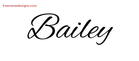 Bailey Cursive Name Tattoo Designs