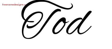 Tod Cursive Name Tattoo Designs
