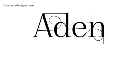 Aden Decorated Name Tattoo Designs