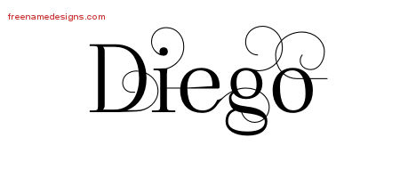 Decorated Name Tattoo Designs Diego Free Lettering - Free ...