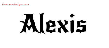Alexis Gothic Name Tattoo Designs