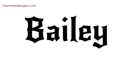 Bailey Gothic Name Tattoo Designs