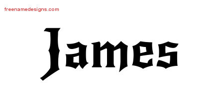 James Gothic Name Tattoo Designs