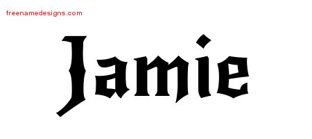 Jamie Gothic Name Tattoo Designs