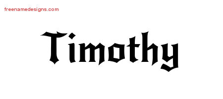 Timothy Gothic Name Tattoo Designs
