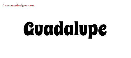 Guadalupe Groovy Name Tattoo Designs