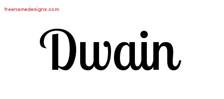 Dwain Handwritten Name Tattoo Designs