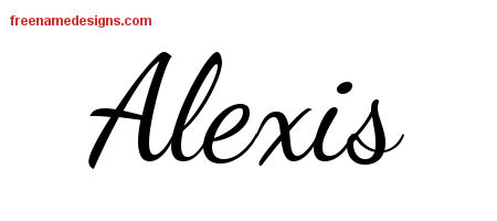 Alexis Lively Script Name Tattoo Designs