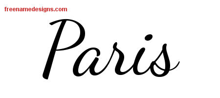 Paris Lively Script Name Tattoo Designs