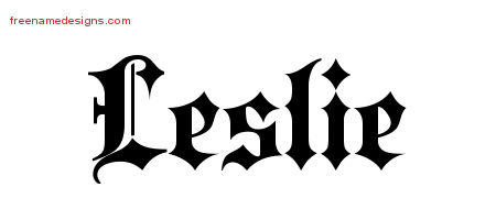 leslie-name-design Old English Letters Template on
