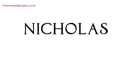 Nicholas Regal Victorian Name Tattoo Designs