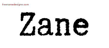 Zane Typewriter Name Tattoo Designs