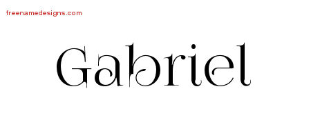 Gabriel Vintage Name Tattoo Designs