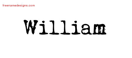 William Vintage Writer Name Tattoo Designs