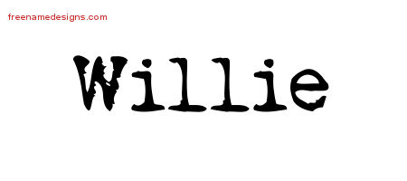 Willie Vintage Writer Name Tattoo Designs