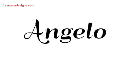 Angelo Art Deco Name Tattoo Designs