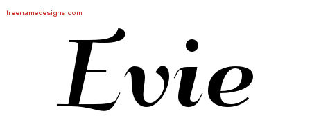Evie Art Deco Name Tattoo Designs