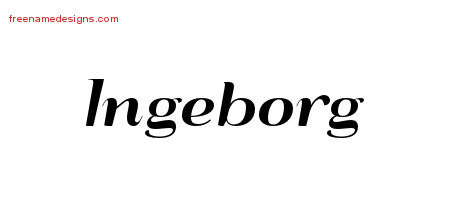 Ingeborg Art Deco Name Tattoo Designs