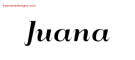 Juana Art Deco Name Tattoo Designs