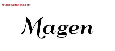 Magen Art Deco Name Tattoo Designs